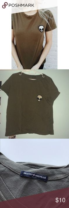 Brandy Melville Alien Shirt Super cute, worn a few times but in good condition! Brandy Melville Tops