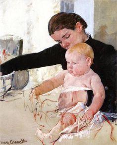 Bathing the Young Heir - Mary Cassatt, c.1891