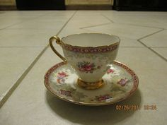 Vintage Shelley Tea Cup and Saucer Georgian Red Floral #Shelley