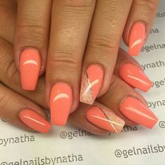 Gorgeous bright orange nail design for spring and summer