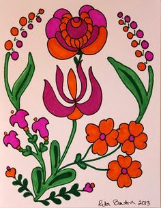 Folk Embroidery Patterns Hungarian Folk Art Flowers in Orange Hungarian Embroidery, Folk Embroidery, Learn Embroidery, Beginner Embroidery, Chain Stitch Embroidery, Embroidery Stitches, Embroidery Patterns, Folk Art Flowers, Flower Art