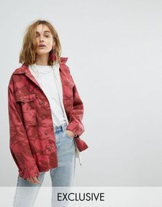 Reclaimed Vintage Revived Overdyed Military Jacket In Red Camo