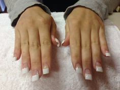 Full Set Acrylics with White Tips