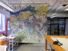 Groot wandtapijt IABR geweven in TextielLab, ter gelegenheid van internationale Architectuur Biennale in Rotterdam