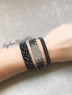 Black and Silver Miyuki Bracelet / Beaded Bracelet / Minimalist Style / Miyuki Bead Bracelet / Miyuki Delica - Armband Ideen Bead Loom Patterns, Bracelet Patterns, Beading Patterns, Bracelet Designs, Bead Loom Bracelets, Ankle Bracelets, Silver Bracelets, Jewelry Bracelets, Diamond Bracelets