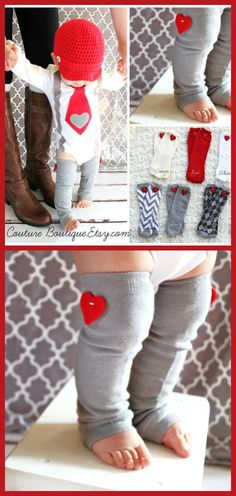I love these baby leg warmers!  Perfect for Valentine's day. Baby Boy and Baby Girl Heart Valentine Leg Warmers. Red, Black, Grey Gray, White, Red. Valentine's Day Outfit, Accessories. #ad