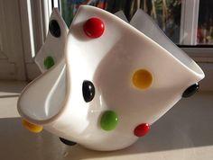 Fused Glass 'Smartie' Dotty Handkerchief Vase