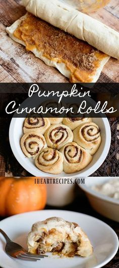 Delicious semi homemade pumpkin cinnamon rolls, slathered with cream cheese fros. - Delicious semi homemade pumpkin cinnamon rolls, slathered with cream cheese frosting. Are you hungr - Köstliche Desserts, Delicious Desserts, Yummy Food, Cinnamon Desserts, Cinnamon Recipes, Tasty, Homemade Desserts, Pumpkin Cinnamon Rolls, Pumpkin Pumpkin