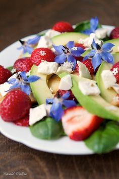 Strawberry Tofu Salad #vegan pretty for fourth of july