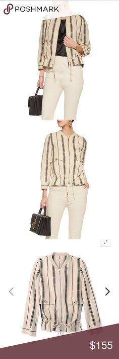 Tory Burch Debbie Jacket Excellent condition Tory Burch Debbie Striped slub silk-blend jacket. The only flaw is a missing logo piece on the bottom of the cinching toggle. Beautiful and currently sold out on the TB website. 💜 Tory Burch Jackets & Coats