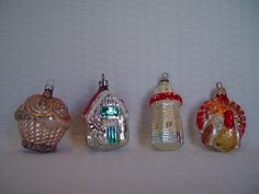 Vintage Glass Figural Christmas Ornaments, Set Of 4, West Germany, Mercury Glass by GandTVintage on Etsy
