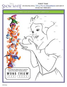 Snow White and the Seven Dwarfs Activity Sheets Connect the Dots