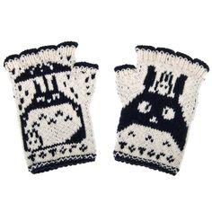 Totoro Fingerless Gloves - hand-knit from pure merino wool. Totoro Gloves Arm Warmers Merino Fingerless Gloves Texting Gloves - Black One Size Wool Gloves, Knitted Gloves, Fingerless Gloves, Texting Gloves, Cold Weather Gloves, Sweater Weather, Knit Mittens, Totoro, Shawls And Wraps