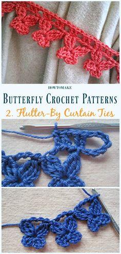Flutter-By Curtain Ties Free Crochet Pattern - Free #Butterfly; #Crochet; Patterns