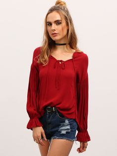 Burgundy Lace Up Front Puff Sleeve Blouse