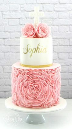 Babtism/Christening Cake with ivory, Pink, and gold accents