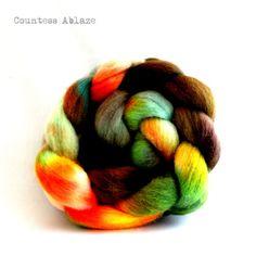 Falkland fiber - Countess Ablaze #spin #spinning #fiber #wool #felting