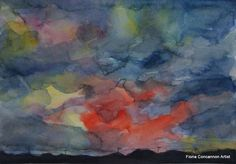 Night Approaching by Fiona Concannon on ArtClick. Watercolour Painting, My Images, Giclee Print, Night, Antiques, Artist, Prints, Ireland, Sunset