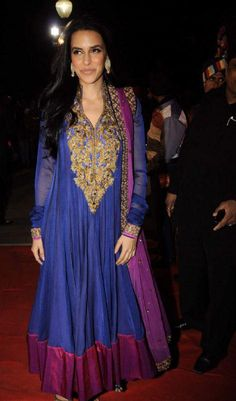 $159.14 Neha Dhupia In Blue And Pink Net Bollywood Salwar Kameez 16117