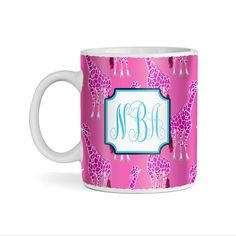 Pink Giraffe Pattern on Pink Monogram 11oz Coffee Mug