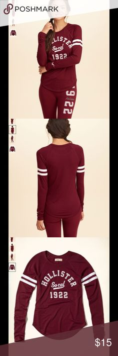 💗HOLLISTER Youth Girl Long Sleeve Tee💗 Beautiful and comfortable Hollister long sleeves top. Color: Wine/White Hollister Shirts & Tops Tees - Long Sleeve