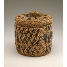 Lozi peoples  Basket with lid Date: ca. 1900 Medium: Plant fiber, dye Dimensions: H x W x D: 17.5 x 16.7 x 16.6 cm | National Museum of African Art