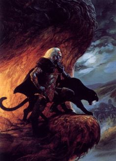 File:Forgotten Realms - Drizzt Do'Urden & Guenhwyvar by Jeff Easley. High Fantasy, Fantasy Rpg, Fantasy World, Fantasy Races, Dungeons And Dragons Art, Advanced Dungeons And Dragons, Arte Sci Fi, Sci Fi Art, Fantasy Paintings