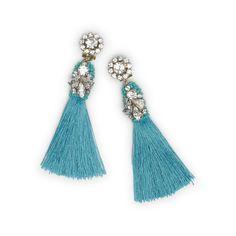 Image result for aqua tassel earrings