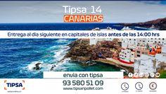 Servicio urgente de entrega en destinos insulares de Canarias antes de 24 horas (islas mayores) y 48 horas (islas menores).Para más información visite nuestra web wwww.tipsaripollet.com