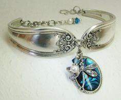 Silver Spoon Bracelet Silver Dragonfly Blue by SpoonfestJewelry, $36.00