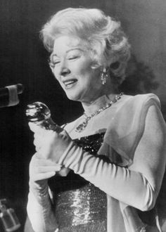 Greer Garson (57) accepting the Golden Globe Award for Best Dramatic Actress for her portrayal of Eleanor Roosevelt in 'Sunrise at Campobello' -March 16, 1961.