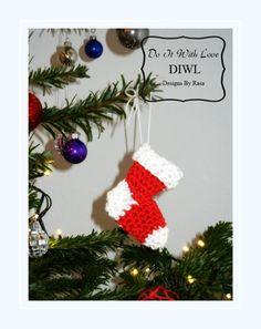 Crochet Pattern - Christmas Shoe Applique ❤Weihnachtsschuhe Socke  Häkelanleitung❤  von  DO IT WITH LOVE auf DaWanda.com