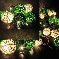 20 Mixed Green Tone Handmade Rattan Balls Fairy String Lights Party Wedding Patio. $14.47, via Etsy.
