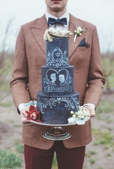 Brides.com: . Elizabeth Marek of Artisan Cake Company created this hand-painted cake for a bride who wanted her wedding cake to match her chalkboard-themed invitation.    $8 per slice, Artisan Cake Company