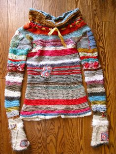 crochet knit patched recycled sweater by Eanie Meany