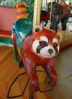 Red Panda Carousel Animal at the Akron Zoo Akron Zoo, Carosel Horse, Amusement Park Rides, Carnival Rides, Painted Pony, Merry Go Round, Zebras, Beautiful Horses, Whimsical