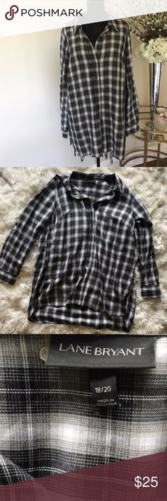 Lane Bryant Black & White Plaid Tunic Only worn once! Cute plaid tunic from Lane Bryant This black and white style matches almost anything Pairs great with leggings Slightly longer in the back than the front   Reasonable offers accepted! Sorry no trades Lane Bryant Tops Tunics