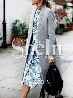 Mantel Langarm mit Taschen-grau 34.91