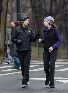 I love a run on a wet fall morning. I love the knit hat that Ann is wearing