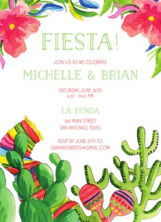 Summer Fiesta Invitation designed by Flower and Vine Engagement Party Invitations, Free Paper, Invitation Design, Flowers, Summer, Fiestas, Summer Time, Florals, Summer Recipes