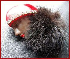 Vintage Lady Face Brooch Pin Rhinestones & by BrightgemsTreasures, $18.50