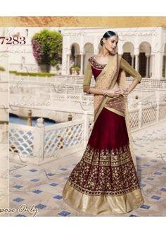 Bollywood Replica - Bridal Maroon Velvet Lehenga Choli -  7283