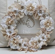 #papercraft lovely lace flowers wreath - could be made with paper too, maybe?