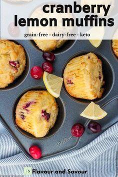 Lemon Cranberry Muffins, Cranberry Bread, Lemon Muffins, Cranberry Recipes, Almond Flour Cakes, Almond Flour Muffins, Gluten Free Muffins, Healthy Muffins, Best Gluten Free Recipes