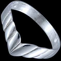 Silver ring, V-shaped Silver ring, Ag 925/1000 - sterling silver. V-shaped ring features a braid emphasizing the shape.