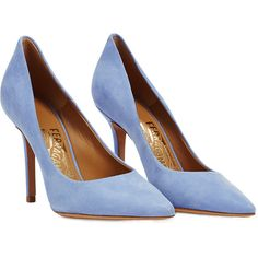 Salvatore Ferragamo Susi Suede Pumps ($385) ❤ liked on Polyvore featuring shoes, pumps, heels, blue, heels & pumps, suede pumps, pointed toe high heels stilettos, pointy toe stiletto pumps and blue pumps