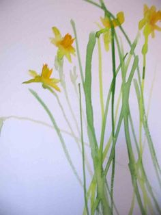 Daffodils watercolor by Edith Dora Rey