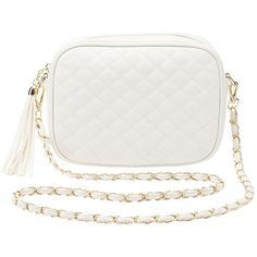 Charlotte Russe Quilted Crossbody Bag ($15) ❤ liked on Polyvore featuring bags, handbags, shoulder bags, white, white crossbody handbags, quilted faux leather crossbody, crossbody purses, white handbags and quilted purses