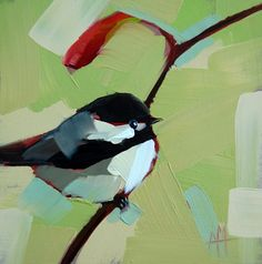 Chickadee no. 258 original bird oil painting by Moulton  6 x 6 inches (15 x 15 cm)