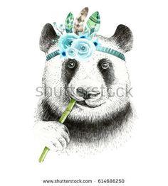 Watercolor panda illustration. Bohemian cute animal. Boho style. Nursary art print. Feathers collection. Kids design
